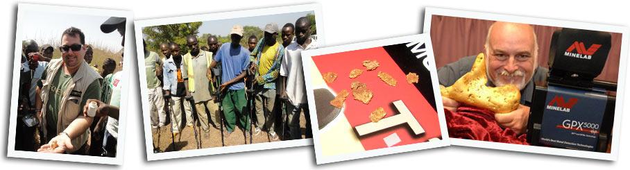 bannière d'image de chercheur d'or avec un detecteur de metaux en Australie et pépites
