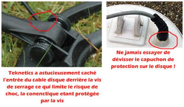 positionnement du cable d'un detecteur de metaux