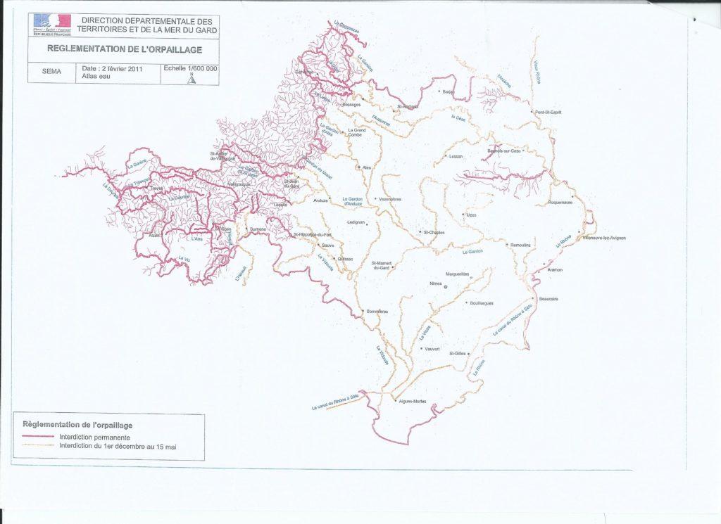 carte des zones autorisés pour pratiquer l'orpaillage dans le gard