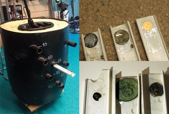 profondeur détecteur de métaux test bac à sable
