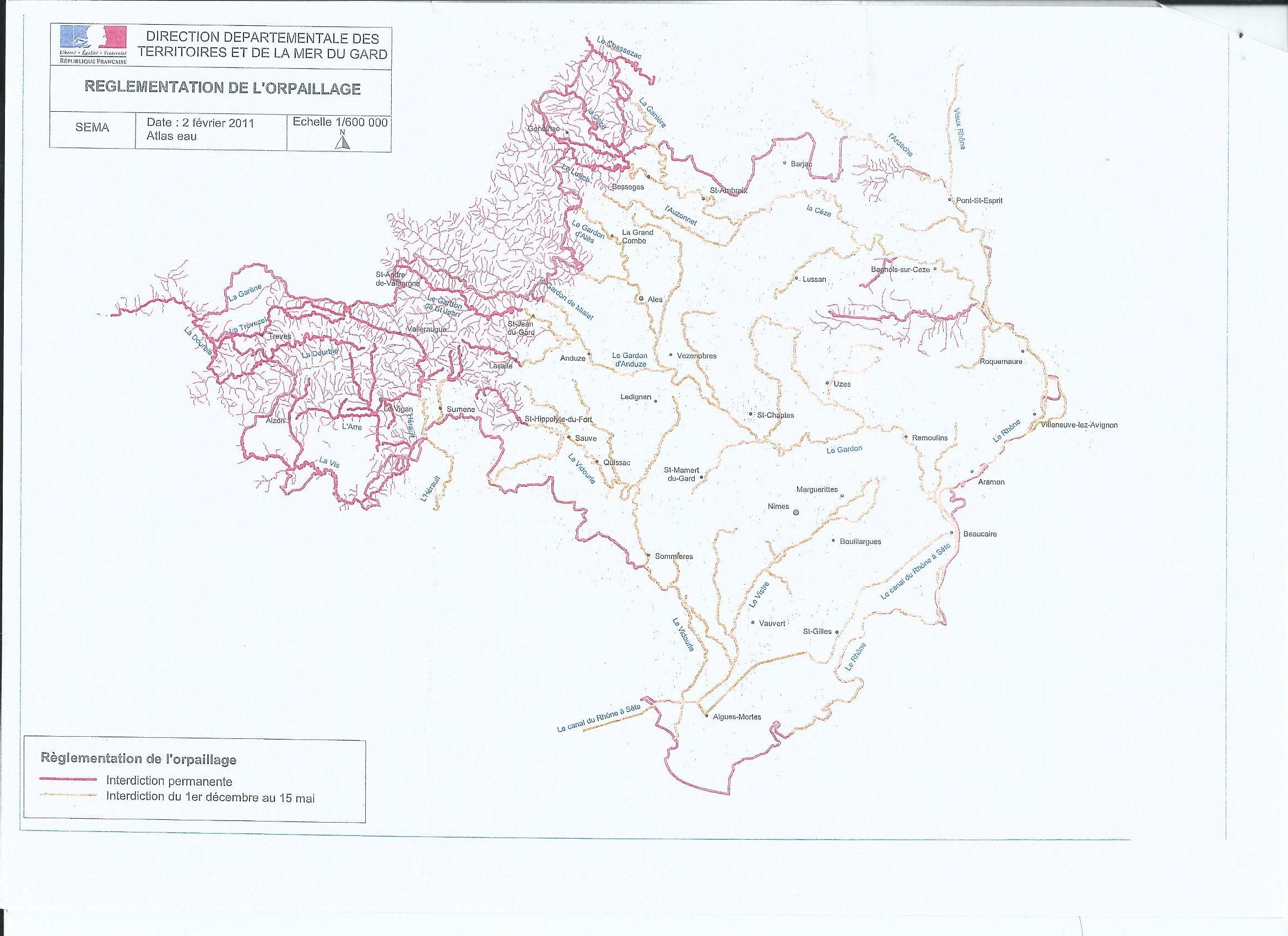 liste des rivières ou l'orpaillage est possible dans le Gard