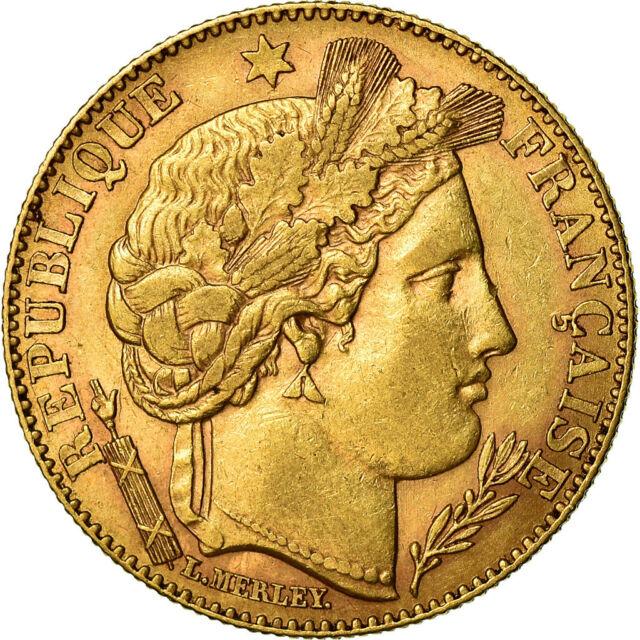 Vue face de la monnaie en or 10 Francs Cérès