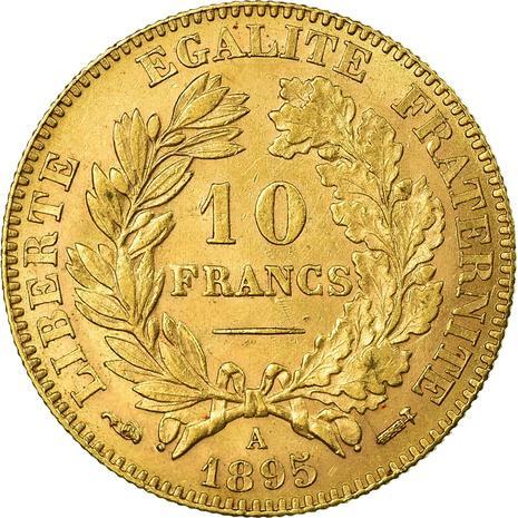 Vue pile de la monnaie en or 10 Francs Cérès