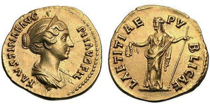 Aureus de Faustine II avec laetitia au revers