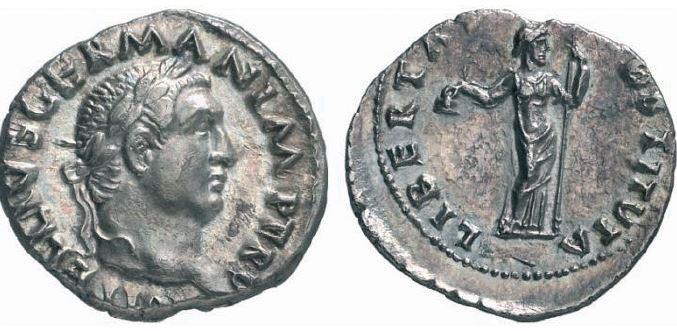 Denier de Vitellius avec libertas au revers