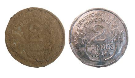 nettoyage à la dremel d'une monnaie en aluminium