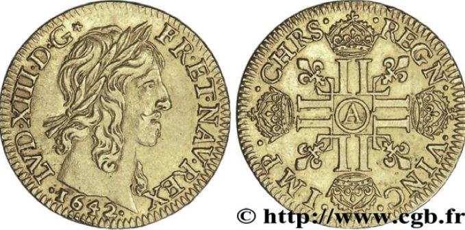 Louis d'or type Warin à la mèche mi-longue sous LOUIS XIII