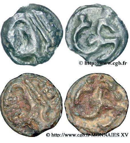Potins à l'hippocampe, tête à la chevelure bouletée (60-50 avant J.-C.)
