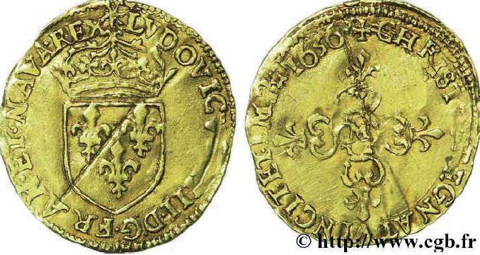 Demi-écu d'or au soleil sous LOUIS XIII