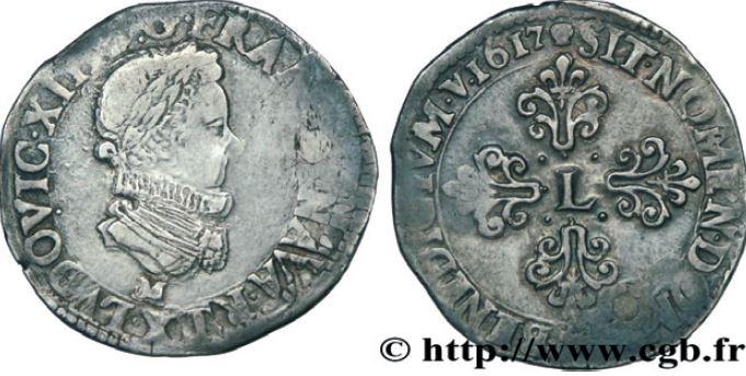 1/2 de franc, buste enfantin au col fraisé sous LOUIS XIII