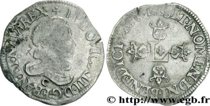 1/2 de franc, grosse tête laurée au col fraisé sous LOUIS XIII