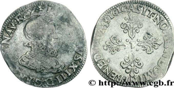 1/2 de franc, tête nue au col fraisé sous LOUIS XIII