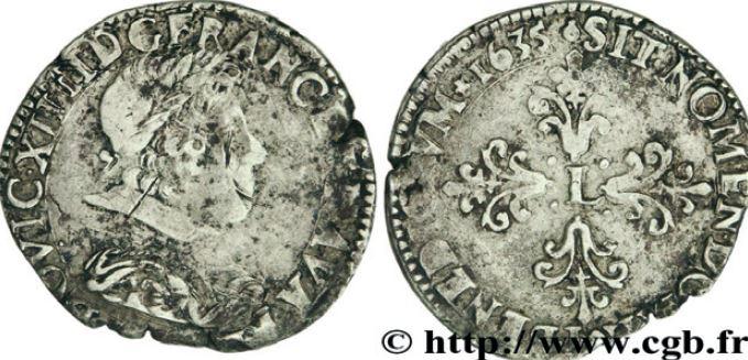 1/2 de franc, buste lauré au col rabattu sous LOUIS XIII