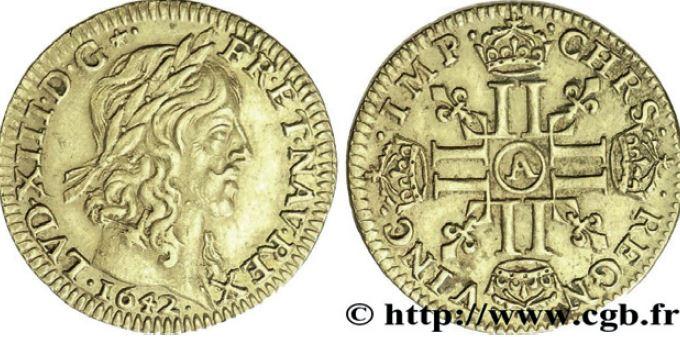 Demi-louis d'or type Warin sous LOUIS XIII