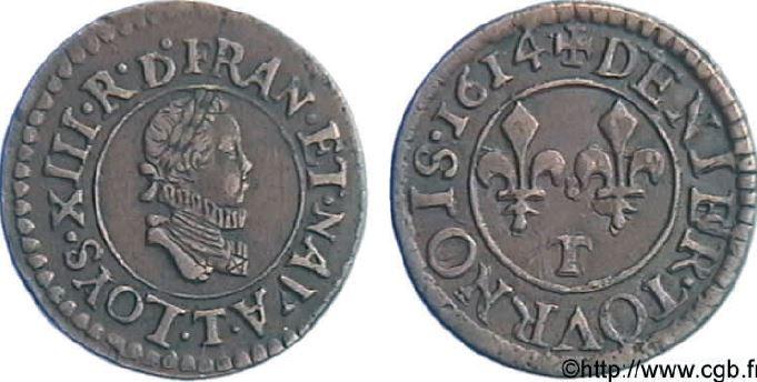 Denier tournois, buste enfantin (petite effigie) sous LOUIS XIII