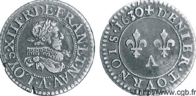 Denier tournois, buste juvénile (avec fraise) sous LOUIS XIII
