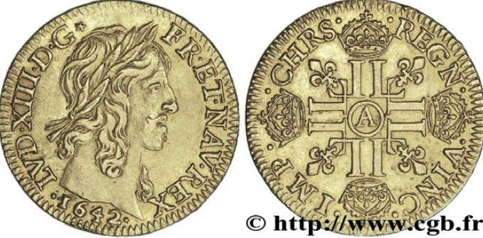 Double louis d'or type Warin sous LOUIS XIII