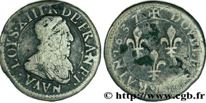 Double Lorrain au buste lauré sous LOUIS XIII