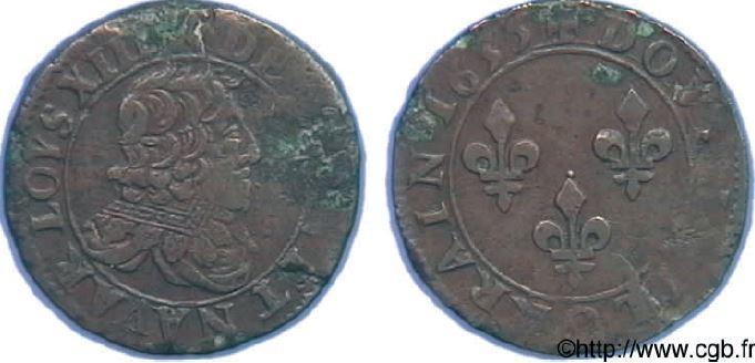 Double Lorrain au buste non lauré sous LOUIS XIII