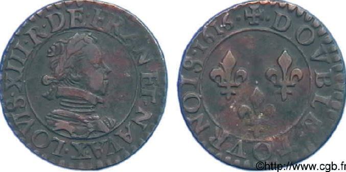 Double tournois, buste enfantin (lauré et cuirassé) souis LOUIS XIII