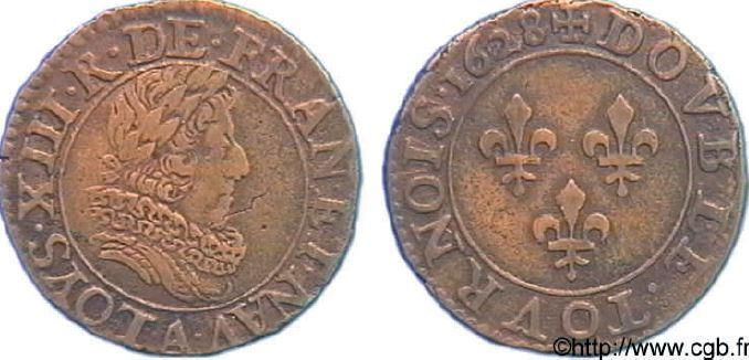 Double tournois, buste juvénile (avec fraise) sous LOUIS XIII
