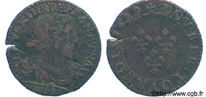 Double tournois, buste laurée et drapé sous LOUIS XIII