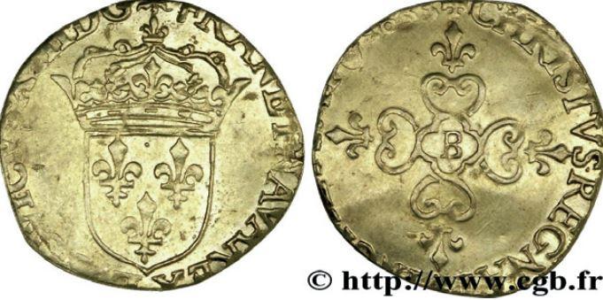Ecu d'or au soleil sous LOUIS XIII