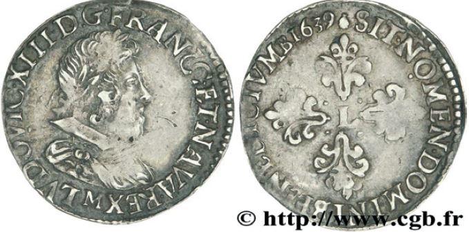 1/4 de franc, buste lauré au col rabattu Sous LOUIS XIII
