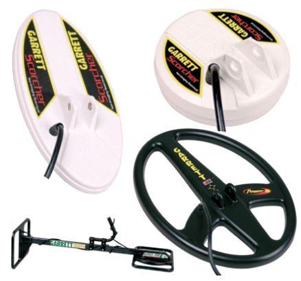 Les différentes têtes disponibles chez Garrett GTI 2500. L'elliptique, la concentrique, la sonde Eagle Eye et pour finir en bas à droite, la DD