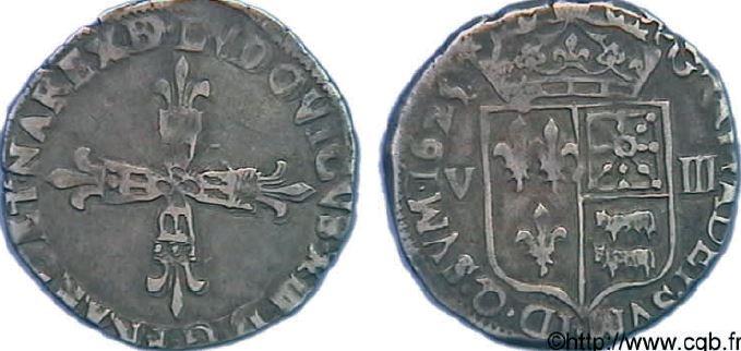 1/8ème d'écu du Béarn sous LOUIS XIII