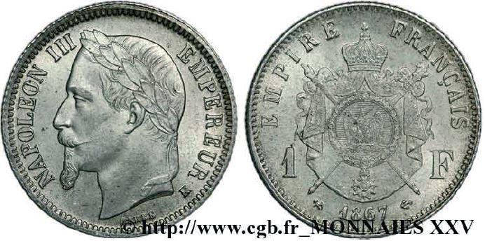 1 franc argent, tête laurée napoléon III