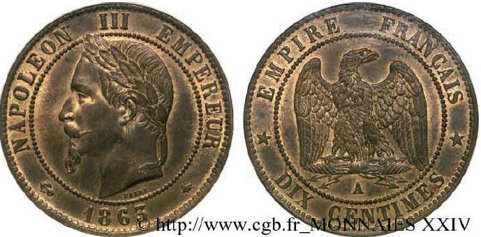 10 centimes, tête laurée napoléon III