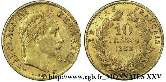 10 francs or, tête laurée napoléon III