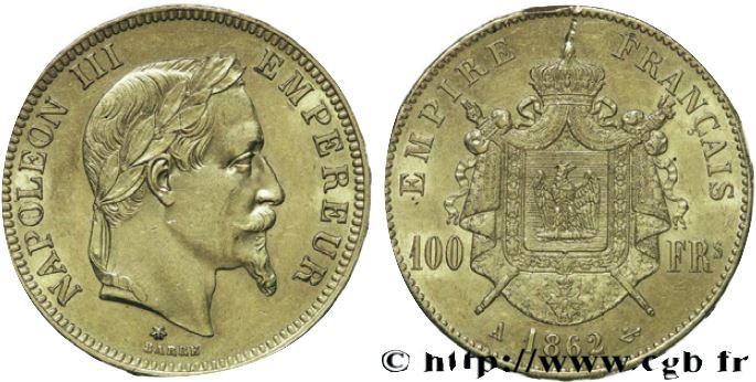 100 francs or, tête laurée Napoléon III