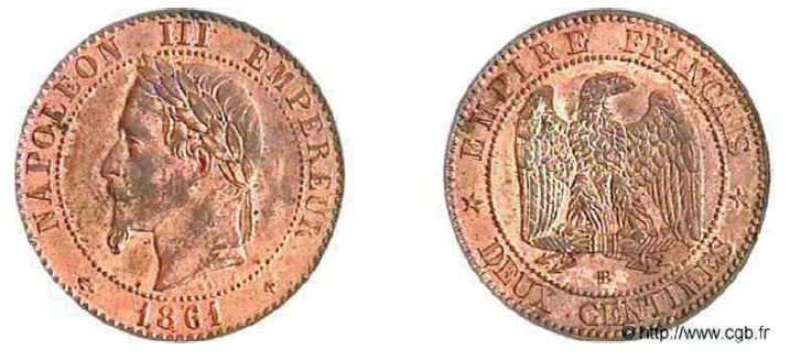 2 centimes, tête laurée napoléon III