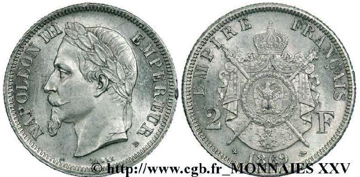 2 francs argent, tête laurée napoléon III