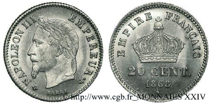 20 centimes argent, grand module, tête laurée napoléon III