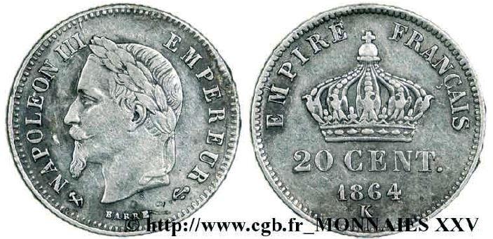20 centimes argent, petit module, tête laurée napoléon III