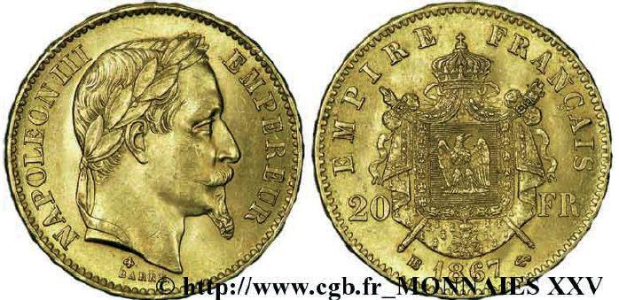 20 francs or, tête laurée napoléon III