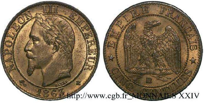5 centimes, tête laurée napoléon III