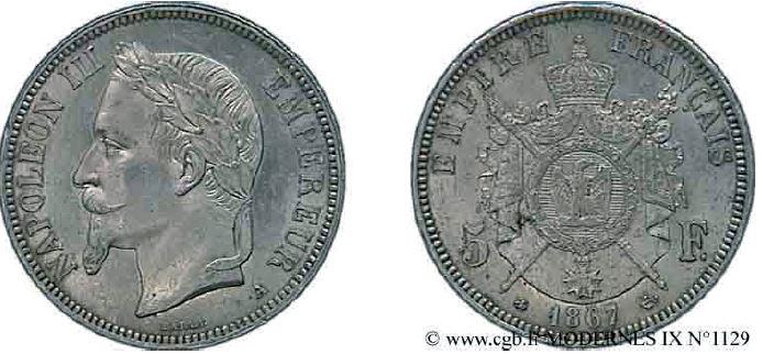 5 francs argent, tête laurée napoléon III