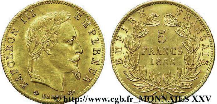 5 francs or, tête laurée napoléon III