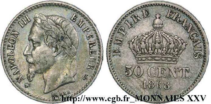50 centimes argent, tête laurée napoléon III