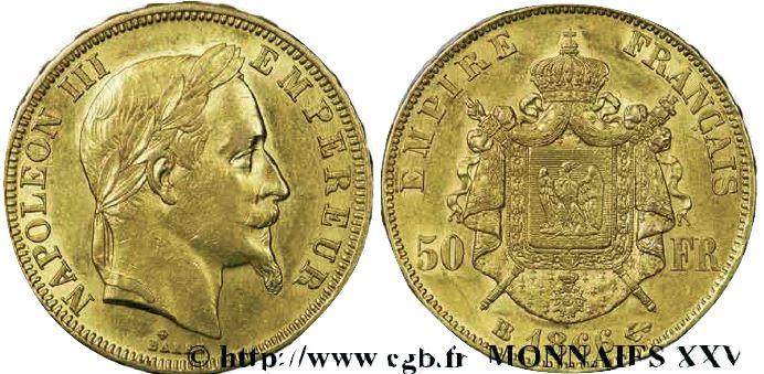 50 francs or, tête laurée napoléon III