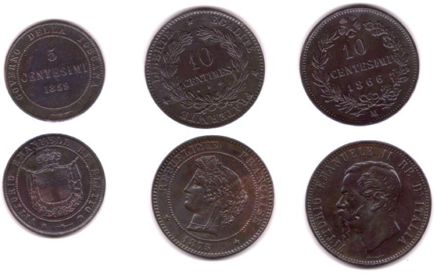 On trouve souvent les pièces frappées sous Napoléon III en compagnie de pièces étrangères, comme ce fut le cas avec cette sympathique bourse trouvée par Ultima Ratio. On y voit de gauche à droite une pièce de 5 centisimi Victor Emmanuel, une pièce de 10 centimes de type Céres (souvent confondue d'ailleurs avec une 10 centimes Napoléon III) et une autre pièce cette fois de 10 centesimi. Les pièces italiennes, argentines, belges tunisiennes ou bulgares avaient en effet cours légal en France pendant l'Union monétaire Latine.