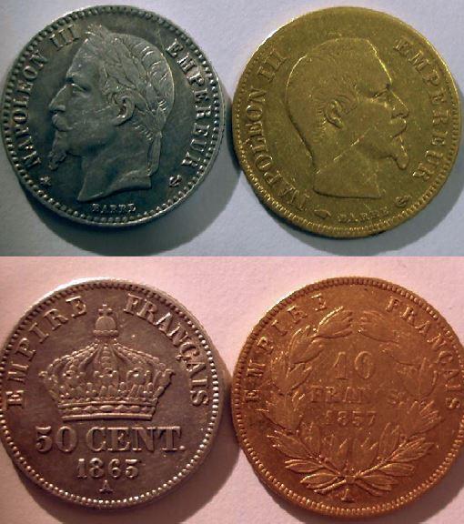 Quelquesfois, le bronze peut cohabiter avec de l'argent, et l'argent avec de l'or comme le prouve gwenahdu23 qui a trouvé cette pièce de 50 centimes Argent en compagnie d'une 10 F or !