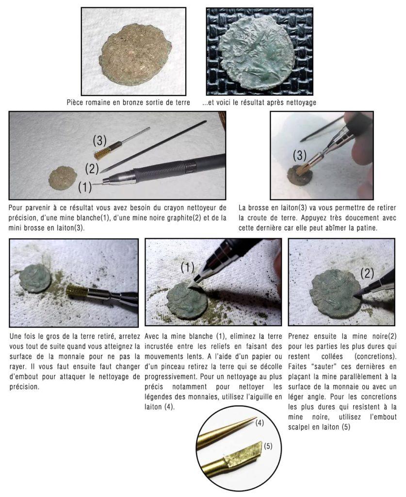 comment nettoyer une monnaie romaine avec un crayon nettoyeur