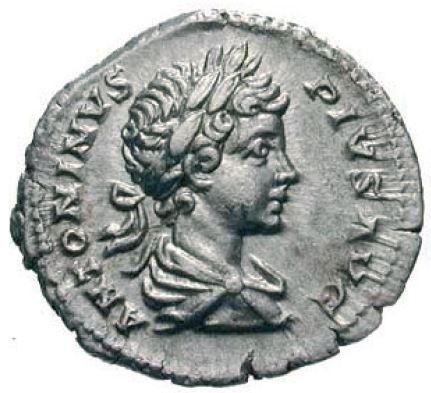 monnaie romaine L'avers de ce denier présente la légende ANTONINVS PIVS AVG. Il ne s'agit néanmoins pas d'un denier d'un emepereur de la dynastie des Antonins mais de Caracalla, son vrai non étant Marcus Aurelius Antoninus