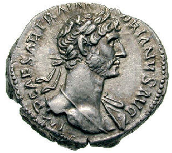 Avers d'un denier d'Hadrien monnaie romaine
